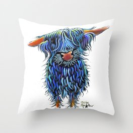 Scottish Highland Cow ' THoMaS ' by Shirley MacArthur Throw Pillow