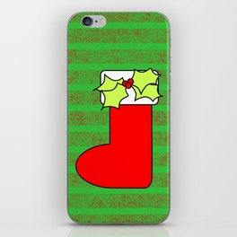 Christmas stocking with decorative holly leaves and mistletoe iPhone Skin