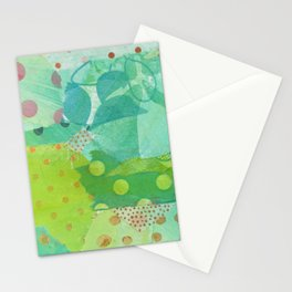 In the Garden Mixed media collage Stationery Cards