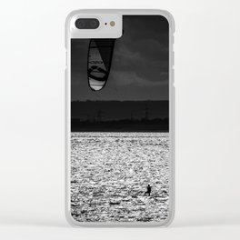 b&w kite surfers Clear iPhone Case