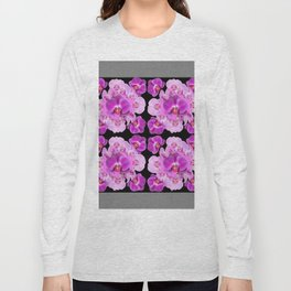 Black-Grey Color Abstracted Modern Purple Moth Orchids Long Sleeve T-shirt