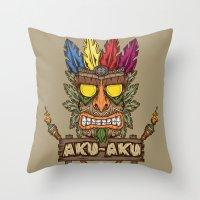playstation Throw Pillows featuring Aku-Aku (Crash Bandicoot) by Pancho the Macho