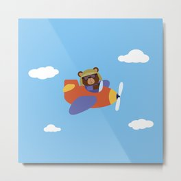 Bear in Airplane Metal Print