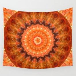 Mandala orange brown Wall Tapestry