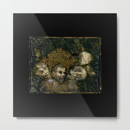 4 screaming severed Heads with pretty gold frame Metal Print