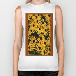 Sunshine Black Eyed Susan Flower Blossoms Biker Tank