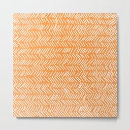 Sherbet Herringbone Lines Metal Print