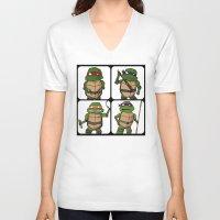 ninja turtle V-neck T-shirts featuring Teenage Mutant Ninja Turtle by Robbleeart