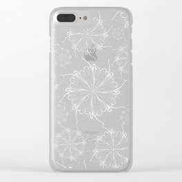 Hand painted black white mandala floral pattern Clear iPhone Case