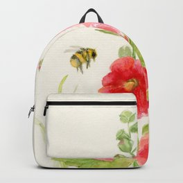 Watercolor Flower Pink Hollyhock and Bee Backpack