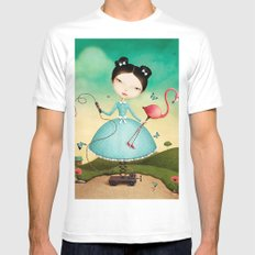 mechanical girl and flamingos White Mens Fitted Tee MEDIUM