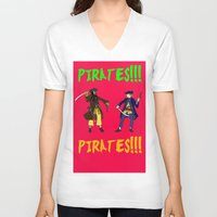 pirates V-neck T-shirts featuring Pirates!!! by Michael Keene