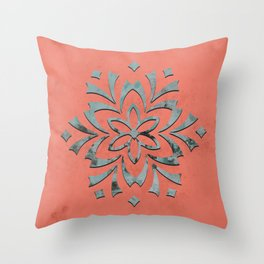 Geometric metallic flower coral grey Throw Pillow