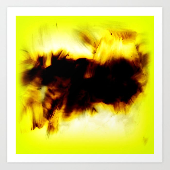 Hole In My Heart Black White Yellow Abstract Art Print By Corbinhenry
