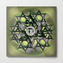Chai Mandala - Green Metal Print