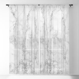 Gray & white faux marble no21 Sheer Curtain