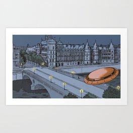 UFO over the Pont-au-Change, in Paris Art Print