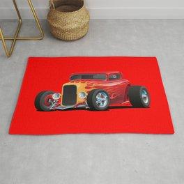 Classic Bold Red Custom Street Rod Car with Yellow amd Orange Hotrod Flames Rug
