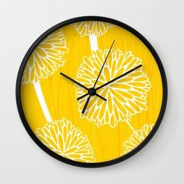 Pom Poms in Yellow by Friztin Wall Clock