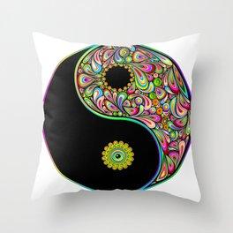 Yin Yang Symbol Psychedelic Art Design Throw Pillow
