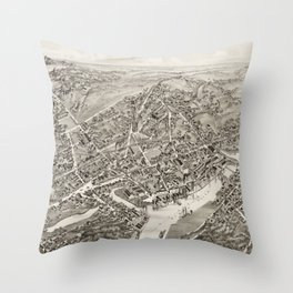 Vintage Map of Port Chester NY (1882) Throw Pillow