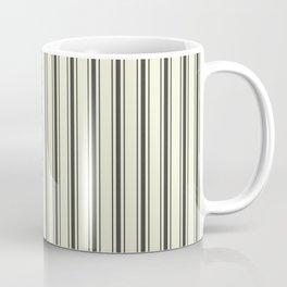Mattress Ticking Wide Striped Pattern in Dark Black and Beige Coffee Mug