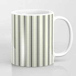 Mattress Ticking Wide Striped Pattern in Dark Black and Beige Coffee Mug