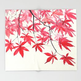 red maple leaves watercolor painting Throw Blanket