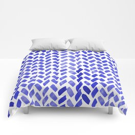 Cute watercolor knitting pattern - blue Comforters