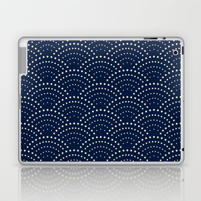 Japanese Blue Wave Seigaiha Indigo Super Moon Pattern Laptop & iPad Skin
