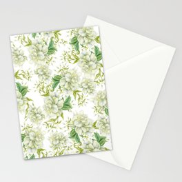 Elegant white green hand painted watercolor floral Stationery Cards