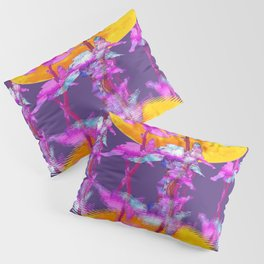 PURPLE-WHITE IRIS & MOON WATER GARDEN  REFLECTION Pillow Sham