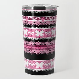Black and pink striped pattern . Travel Mug