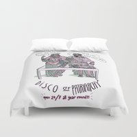 patriarchy Duvet Covers featuring Disco of Patriarchy by Olivia Ekelund