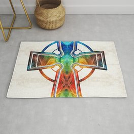 Colorful Celtic Cross by Sharon Cummings Rug