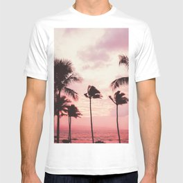 Tropical Palm Tree Pink Sunset T-shirt