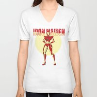iron maiden V-neck T-shirts featuring Iron Maiden by wokinor