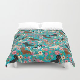 Dachshund dog breed floral pure breed weener dogs doxie dachsie must have Duvet Cover