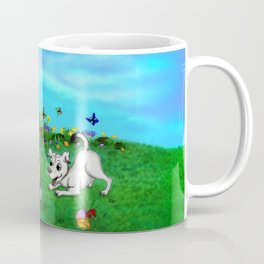 Easter - Spring-awakening - Puppy Capo with Rabbit and Chick Coffee Mug