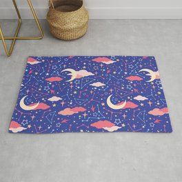 Constellation Stars and Moons in Neon Pastels Rug