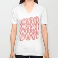 coral V-neck T-shirts featuring Coral Herringbone by Cat Coquillette