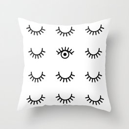 Eyes Closed Throw Pillow