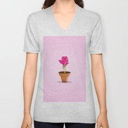 Little Pink Rose Unisex V-Neck