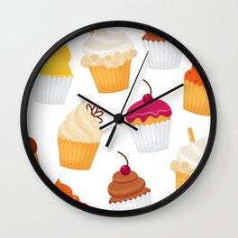 Dulce y sabrosa comida postre cupcake patrón transparente ilustración vectorial Wall Clock