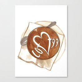 Coffee Love Latte Art Canvas Print
