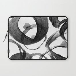 Modern abstract black white hand painted brushstrokes Laptop Sleeve