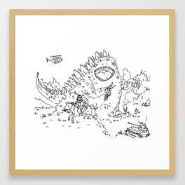 """Big Snake Vs. Big Lizard"" lineart (Farts 'N' Crafts episode 3) Framed Art Print"