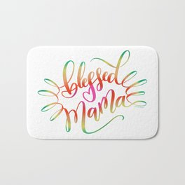 Blessed Mama Colorful Hand Lettering Design Bath Mat