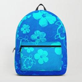 Blue Hawaiian Honu And Tropical Flowers Backpack
