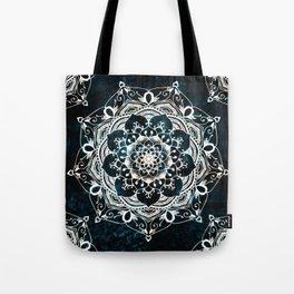 Glowing Spirit Mandala Blue White Tote Bag